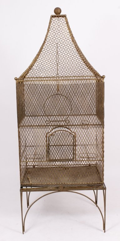 19th C. French Painted Metal Birdcage with Base - 2
