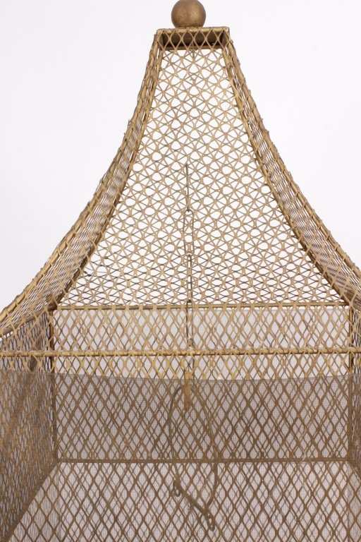 19th C. French Painted Metal Birdcage with Base - 3