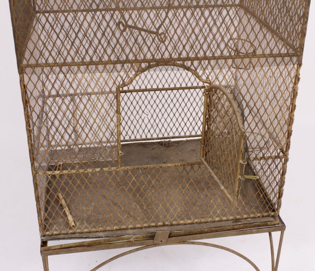 19th C. French Painted Metal Birdcage with Base - 4
