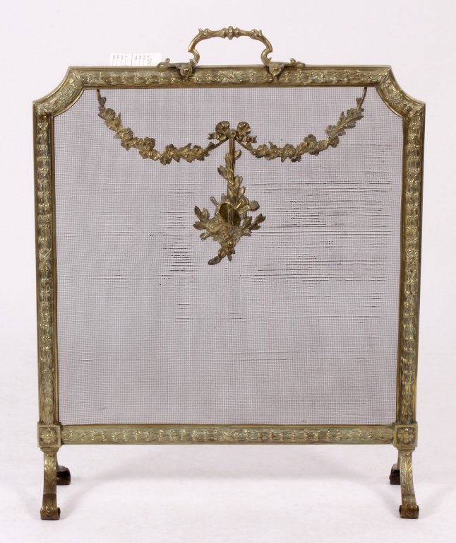 Louis XVI Style Brass and Mesh Fire Screen, E 20 C