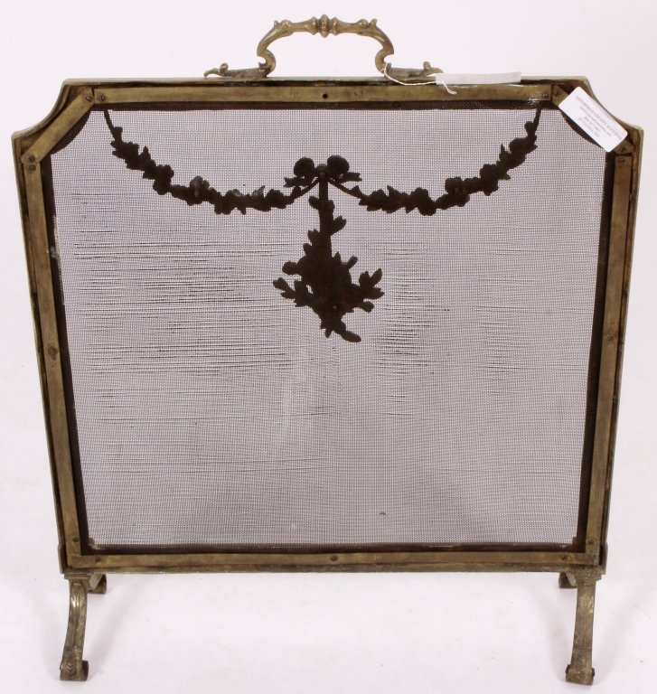 Louis XVI Style Brass and Mesh Fire Screen, E 20 C - 6