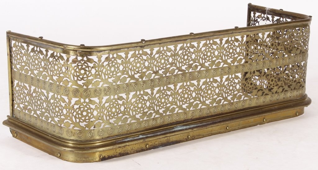 Victorian Pierced Brass Fireplace Fender
