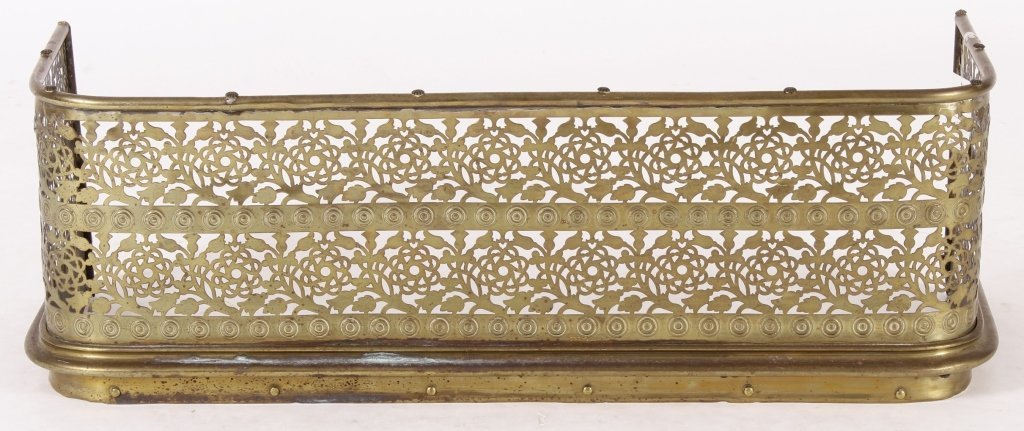 Victorian Pierced Brass Fireplace Fender - 2