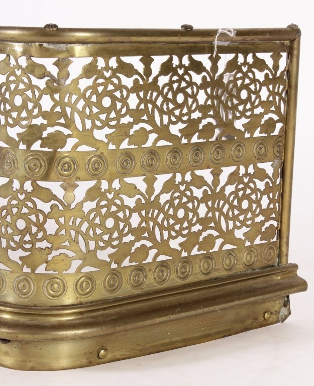 Victorian Pierced Brass Fireplace Fender - 3