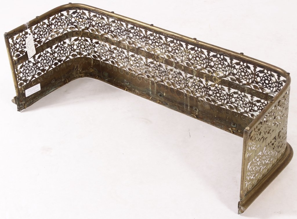Victorian Pierced Brass Fireplace Fender - 4