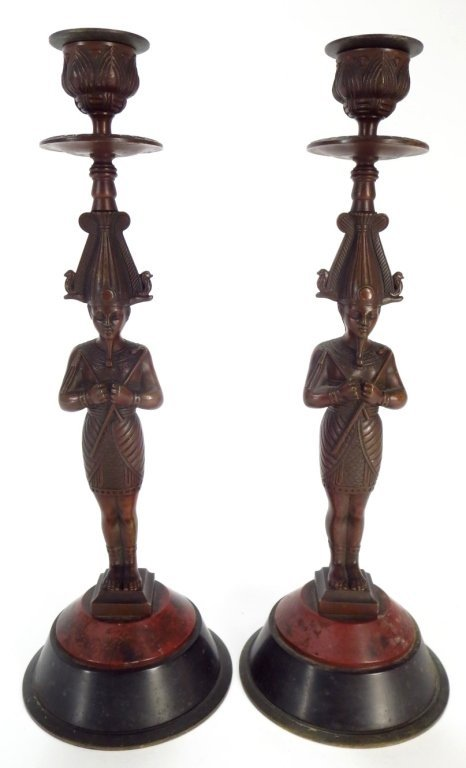 Pair Egyptian Style Bronze Candlestick