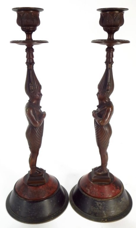 Pair Egyptian Style Bronze Candlestick - 2