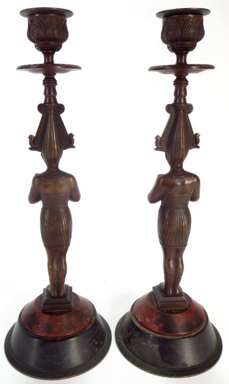 Pair Egyptian Style Bronze Candlestick - 3