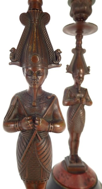 Pair Egyptian Style Bronze Candlestick - 5