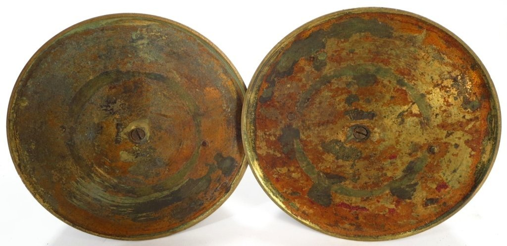 Pair Egyptian Style Bronze Candlestick - 6