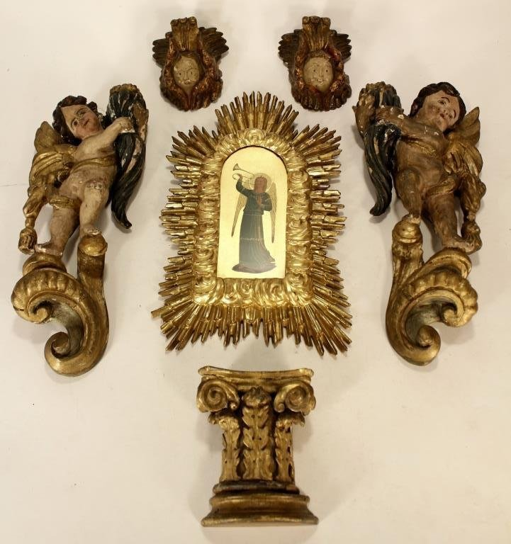 Italian Carved Gilt Wood and Painted Objects