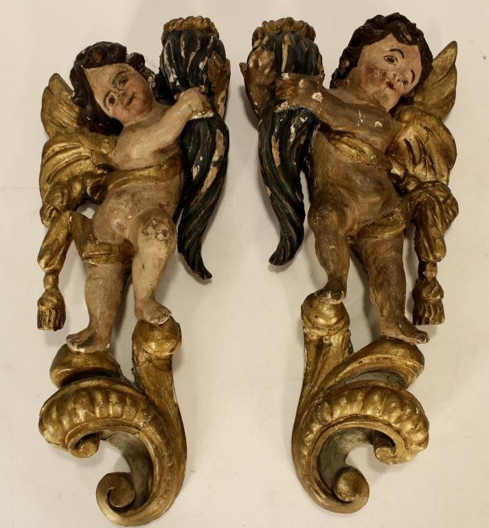 Italian Carved Gilt Wood and Painted Objects - 3