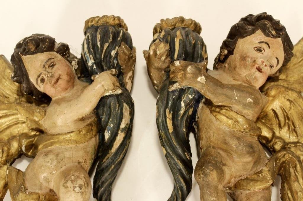 Italian Carved Gilt Wood and Painted Objects - 4