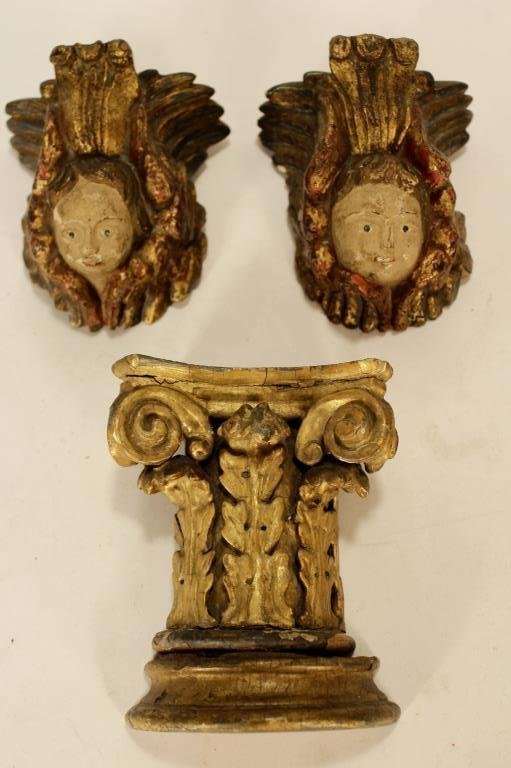 Italian Carved Gilt Wood and Painted Objects - 5