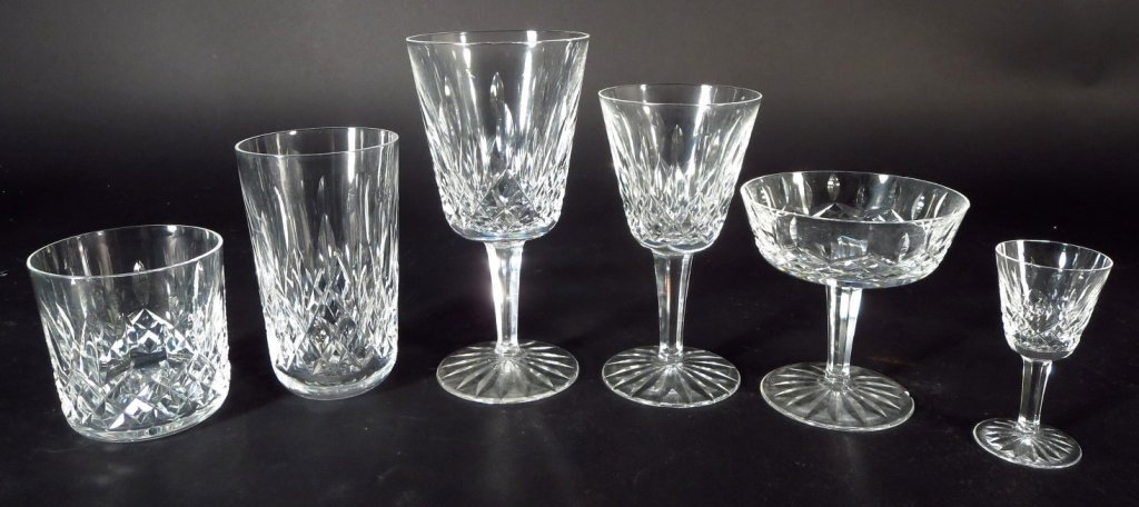 59 Pieces Waterford Glassware, in 6 Sizes