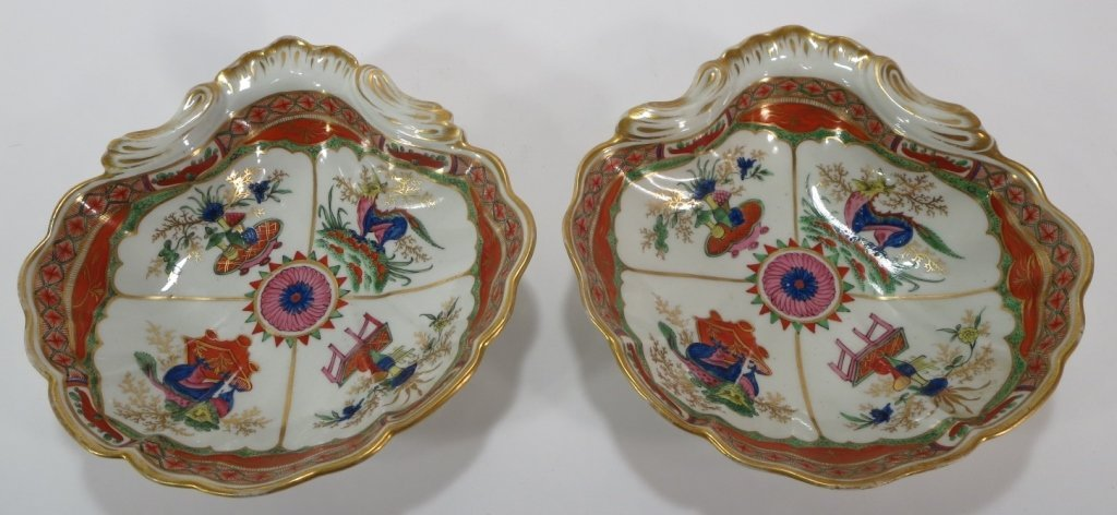 Pair of Chamberlain Worcester Dishes, c. 1794