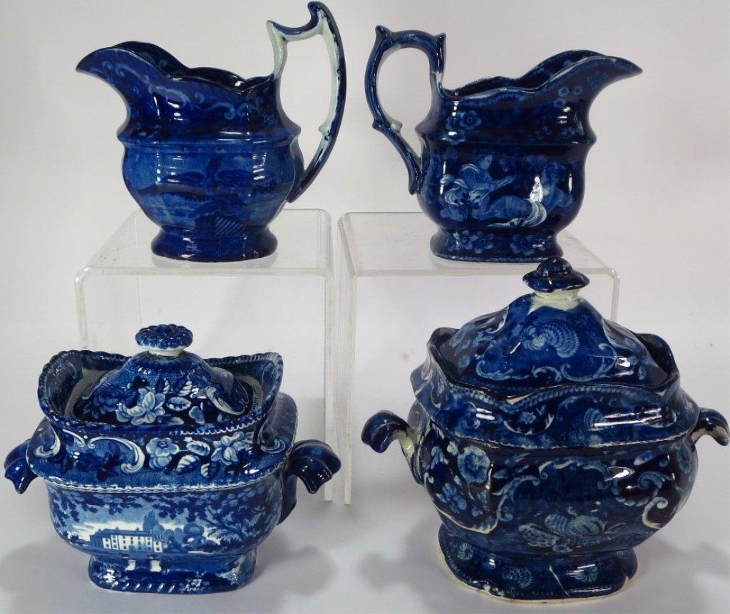 Lot 4 Blue Staffordshire Sugars & Creamers c. 1800