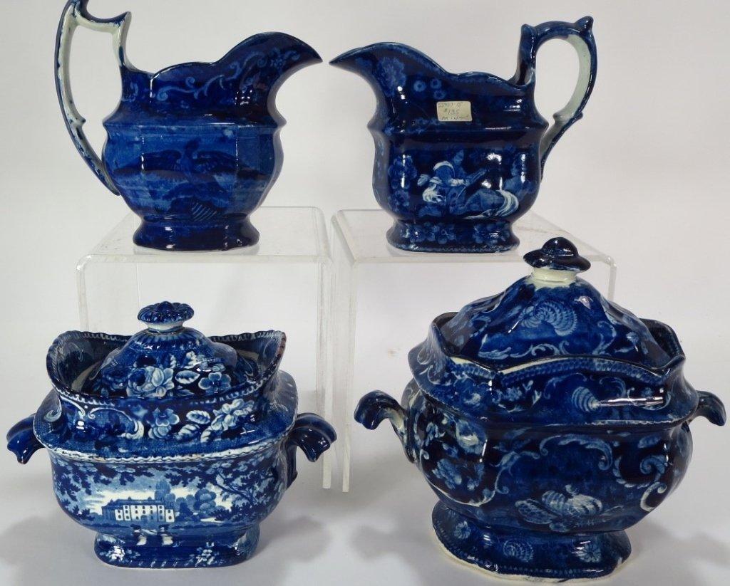 Lot 4 Blue Staffordshire Sugars & Creamers c. 1800 - 3
