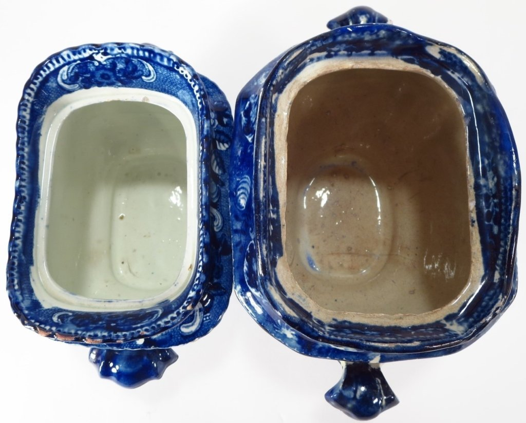 Lot 4 Blue Staffordshire Sugars & Creamers c. 1800 - 4