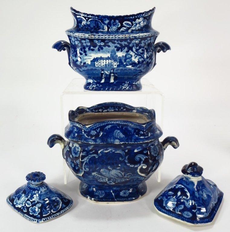 Lot 4 Blue Staffordshire Sugars & Creamers c. 1800 - 7