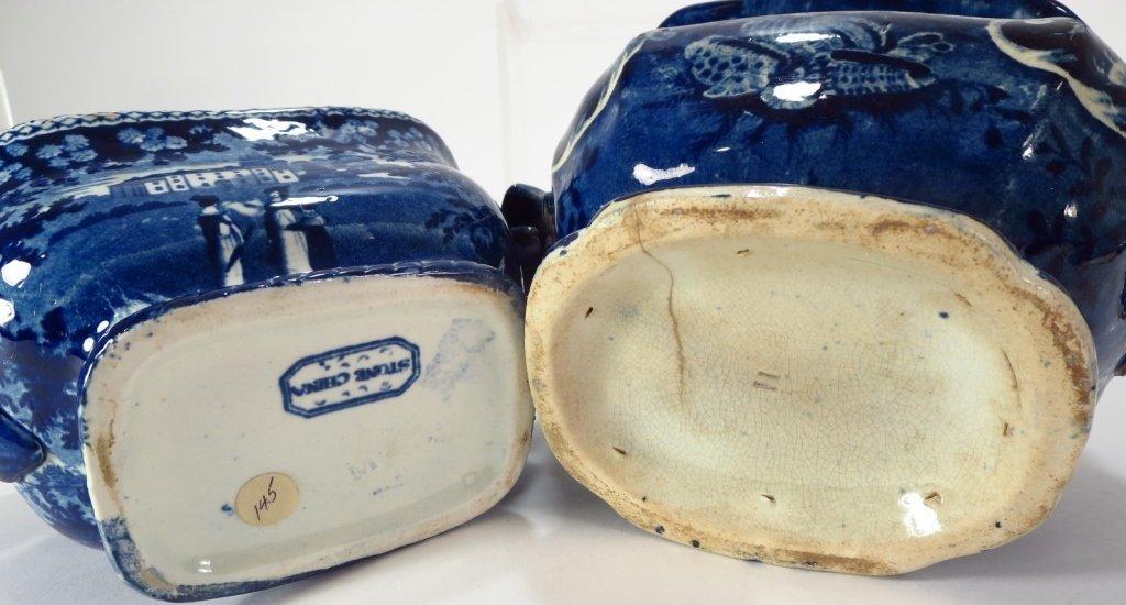 Lot 4 Blue Staffordshire Sugars & Creamers c. 1800 - 8