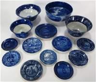 Lot 14 Blue Staffordshire Bowls & Sm Plates c 1800