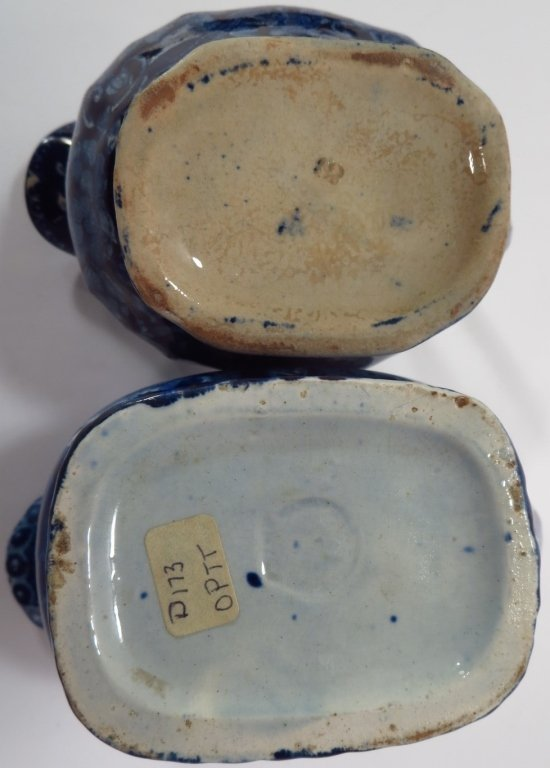 Lot of 4 Blue Staffordshire Sugars Creamers c 1800 - 10
