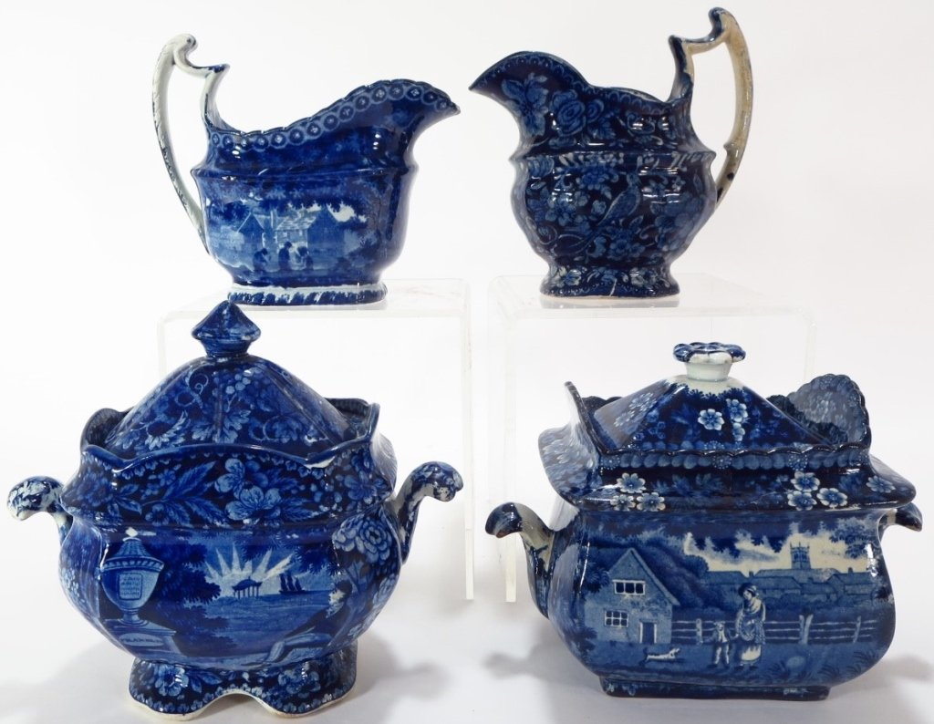 Lot of 4 Blue Staffordshire Sugars Creamers c 1800