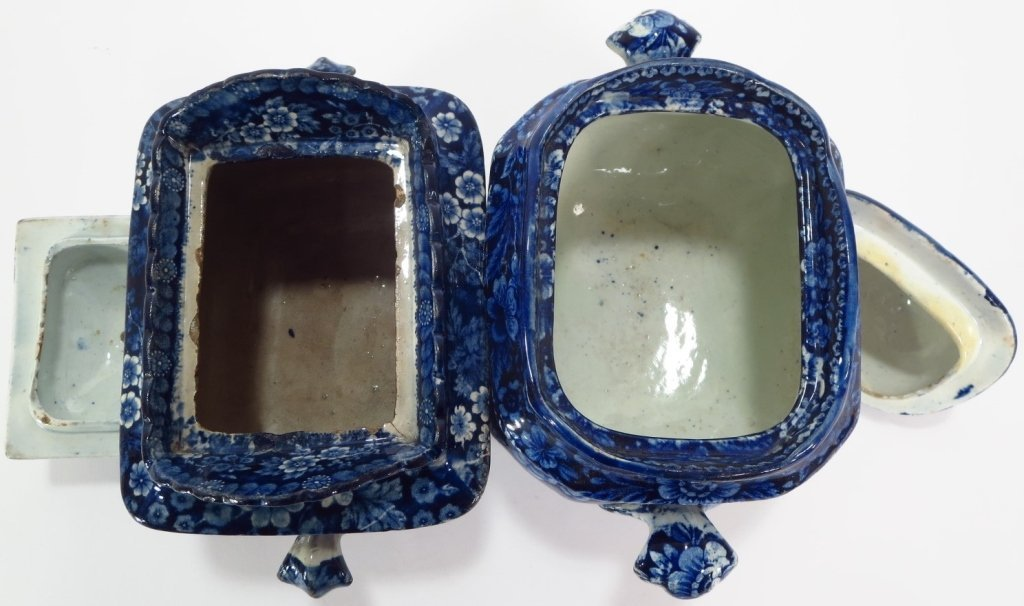 Lot of 4 Blue Staffordshire Sugars Creamers c 1800 - 7