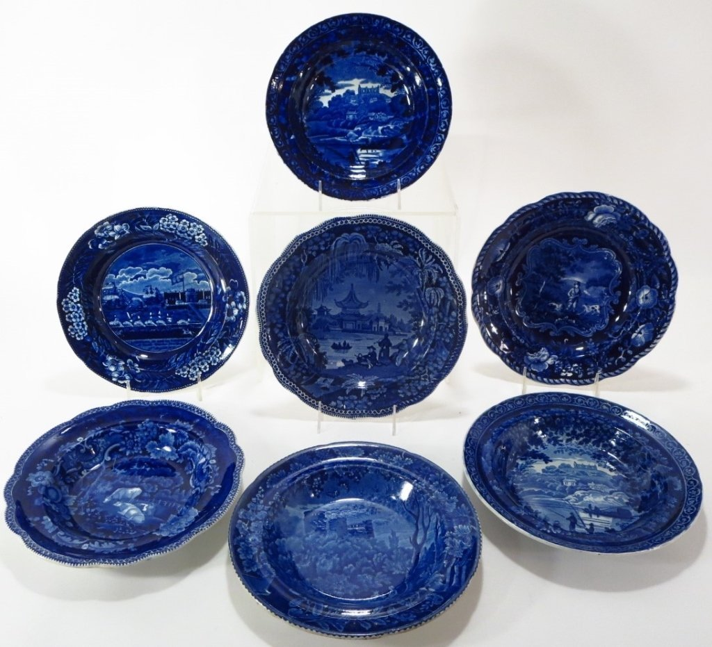 7 Blue Staffordshire Soup Bowls, Eng., c. 18OO