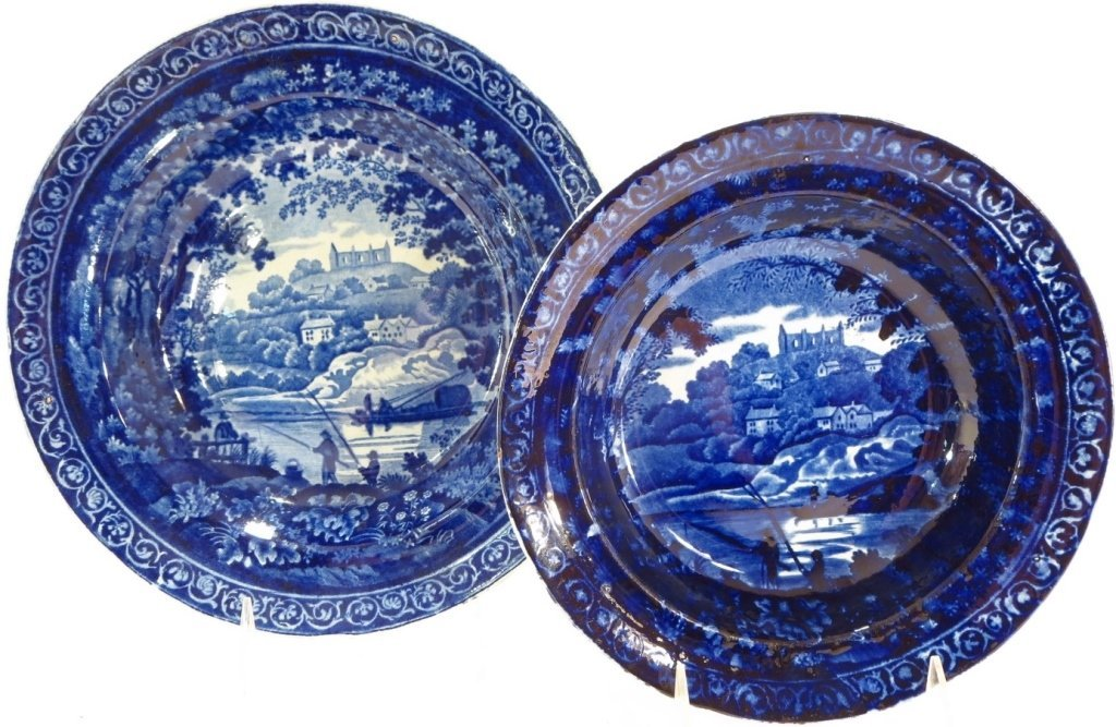 7 Blue Staffordshire Soup Bowls, Eng., c. 18OO - 3