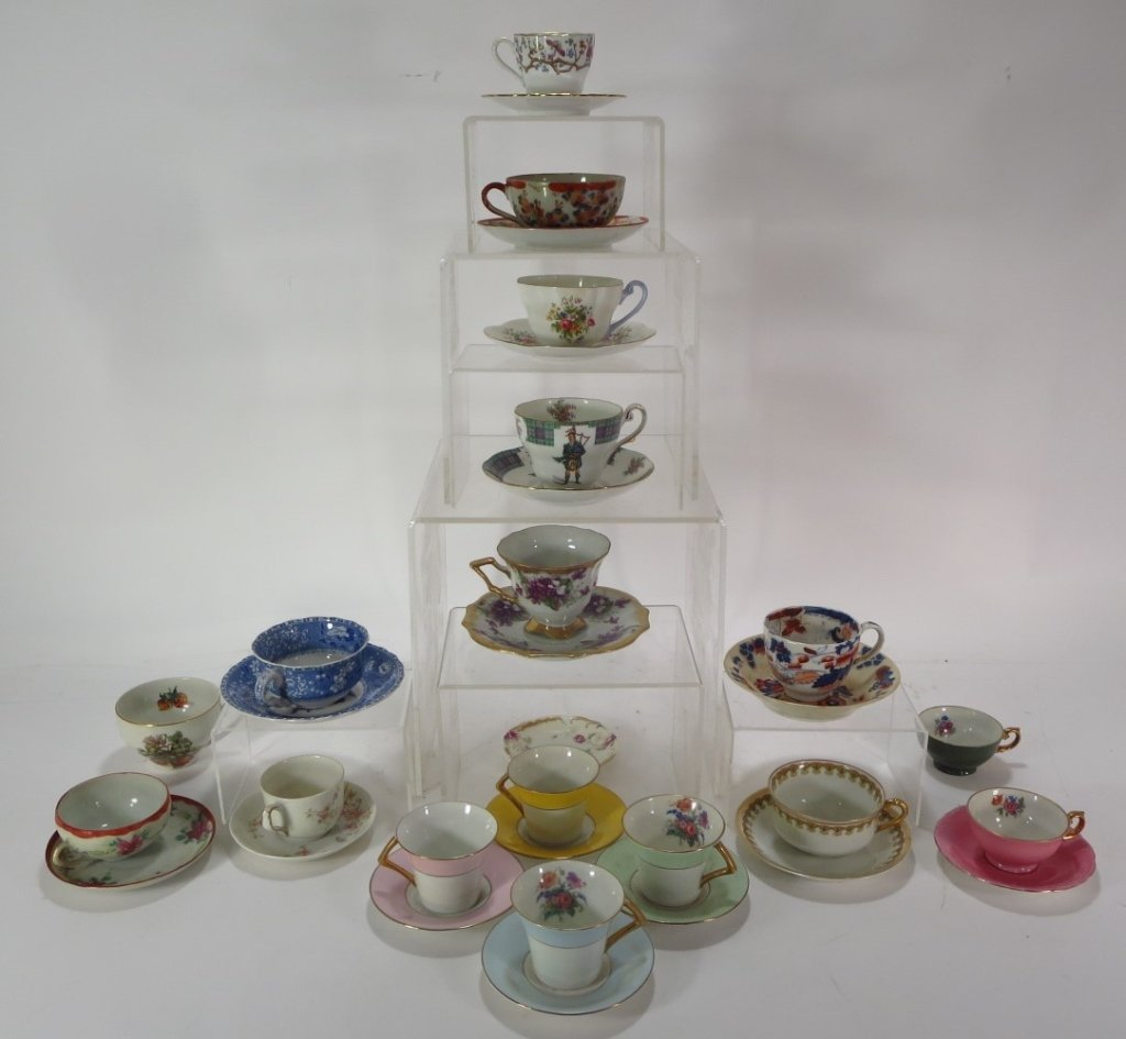 Assorted group of 16 Teacups and Saucers
