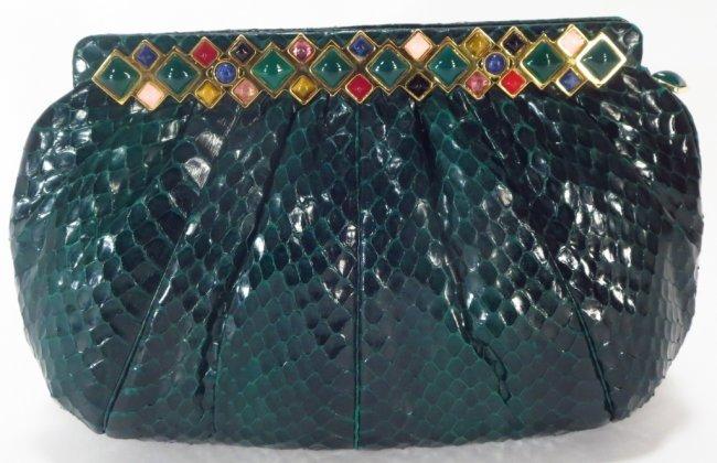 Judith Leiber Green Python Handbag