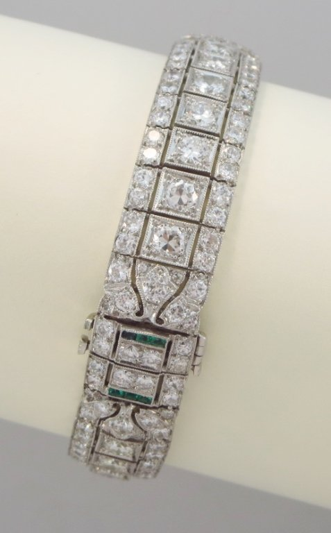 Diamond, Emerald & Platinum Bracelet