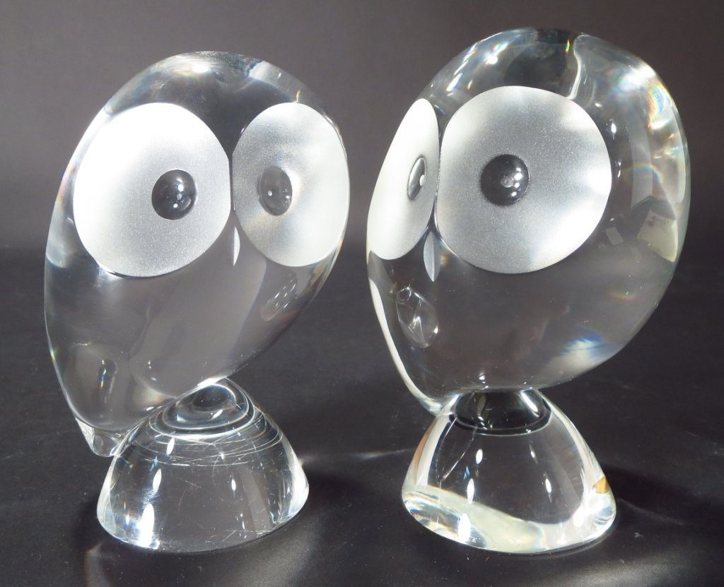 Pair of Steuben Crystal Owls, Signed - 4