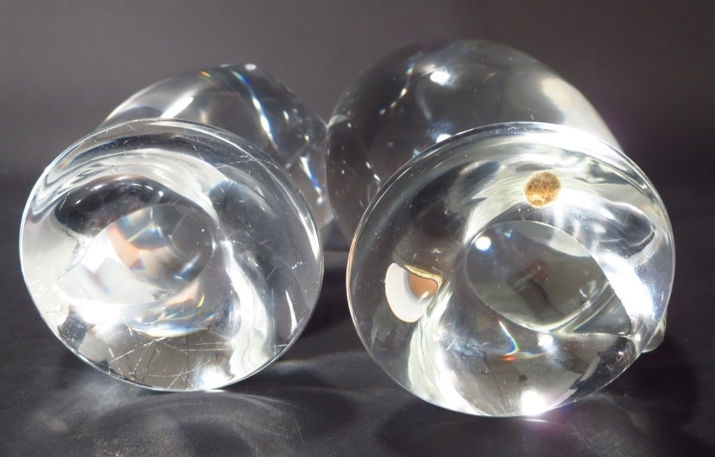 Pair of Steuben Crystal Owls, Signed - 8