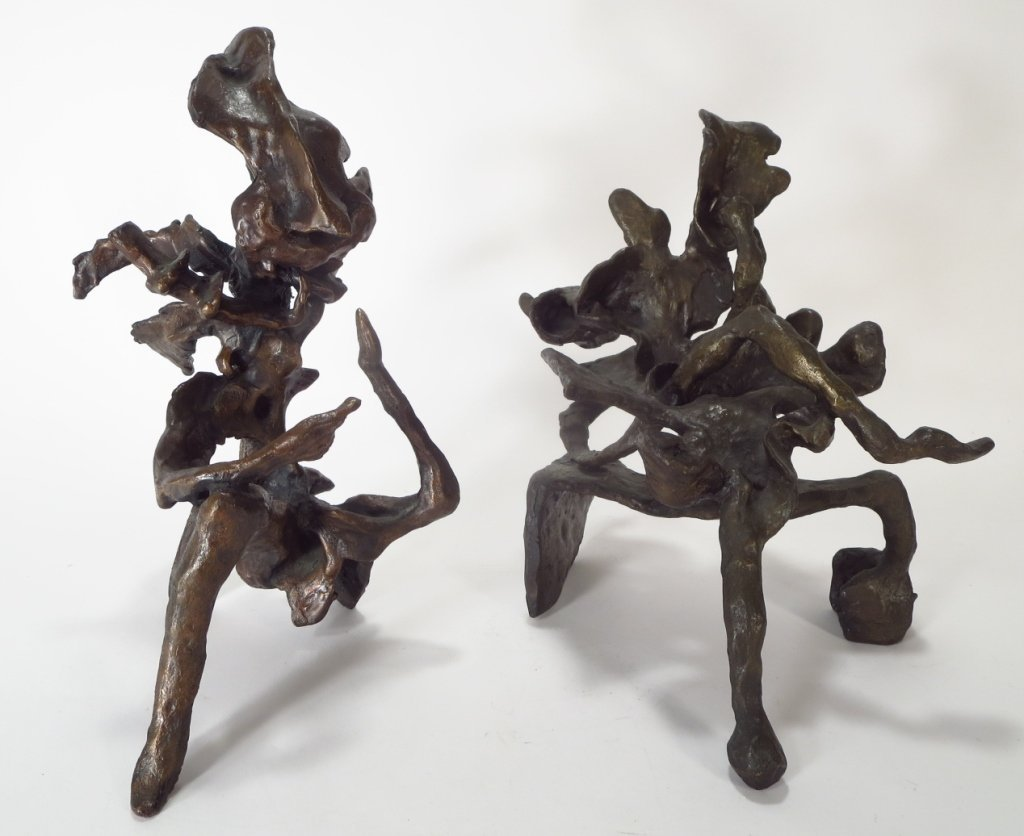 Harry Baron Abstract Bronze Seated Figures