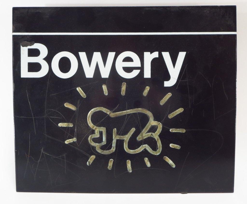 Attrib. Keith Haring Bowery Sign w/ Graffiti 20th C.