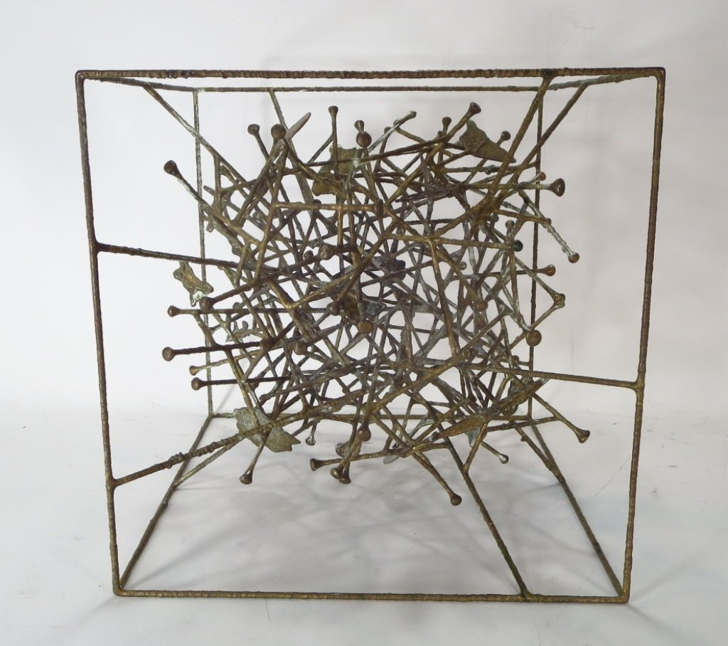 Klaus Ihlenfeld, Bronze Sculpture Within a Cube.