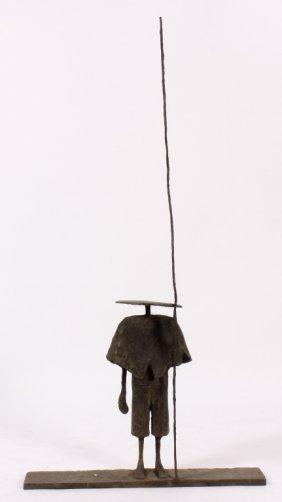 Zhang Ke Duan Bronze Sculpture of a Fisherman