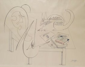 """Saul Steinberg, Am. 1914-99 """"Table V"""" Ink  Drawing"""