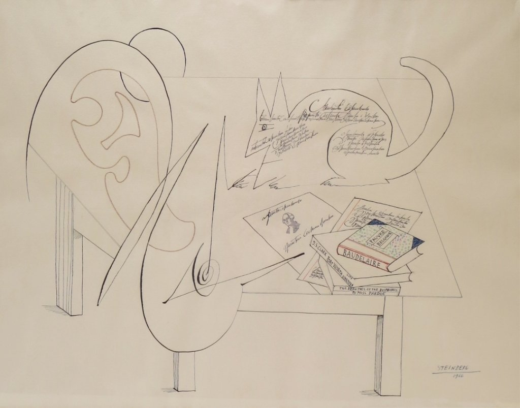 "Saul Steinberg, Am. 1914-99 ""Table V"" Ink  Drawing"