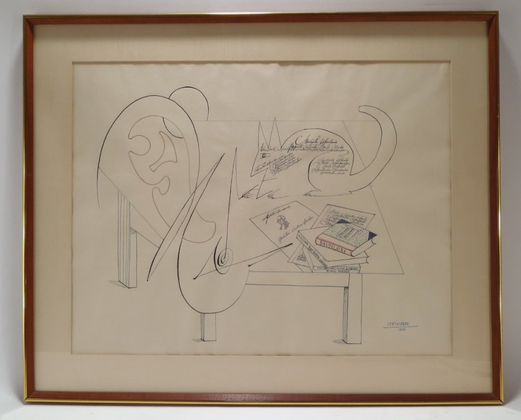 "Saul Steinberg, Am. 1914-99 ""Table V"" Ink  Drawing - 2"