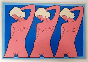 John Wesley (Am. b.1928) '3 Marys' Acrylic 1971