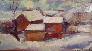 Leon Gaspard, Rus.-Am., 1882-1964, Snowy Farm, O/B