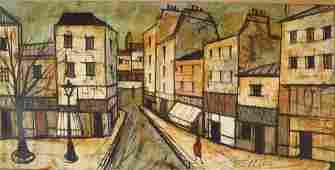 C Levier Paris Street Scene Oil on Canvas