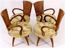 4 Midcentury Swivel Dining Chairs, attr. Parzinger
