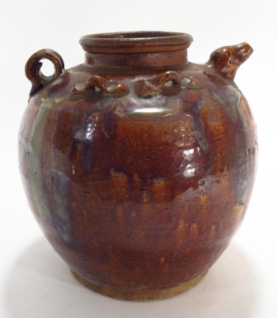 Chinese Pottery Storage Jar with Spout, 19th C