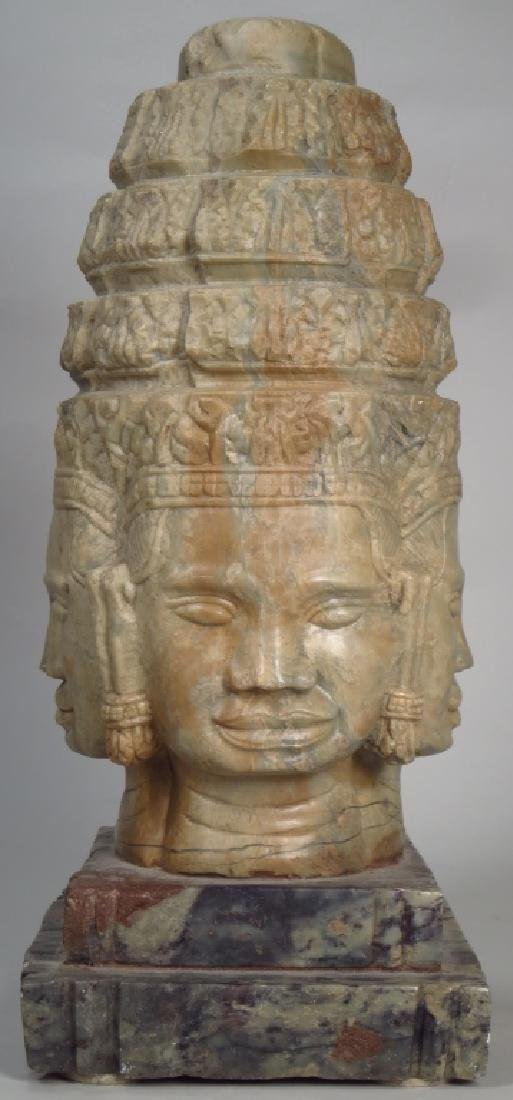 Asian Carved Marble Diety, 20th C.