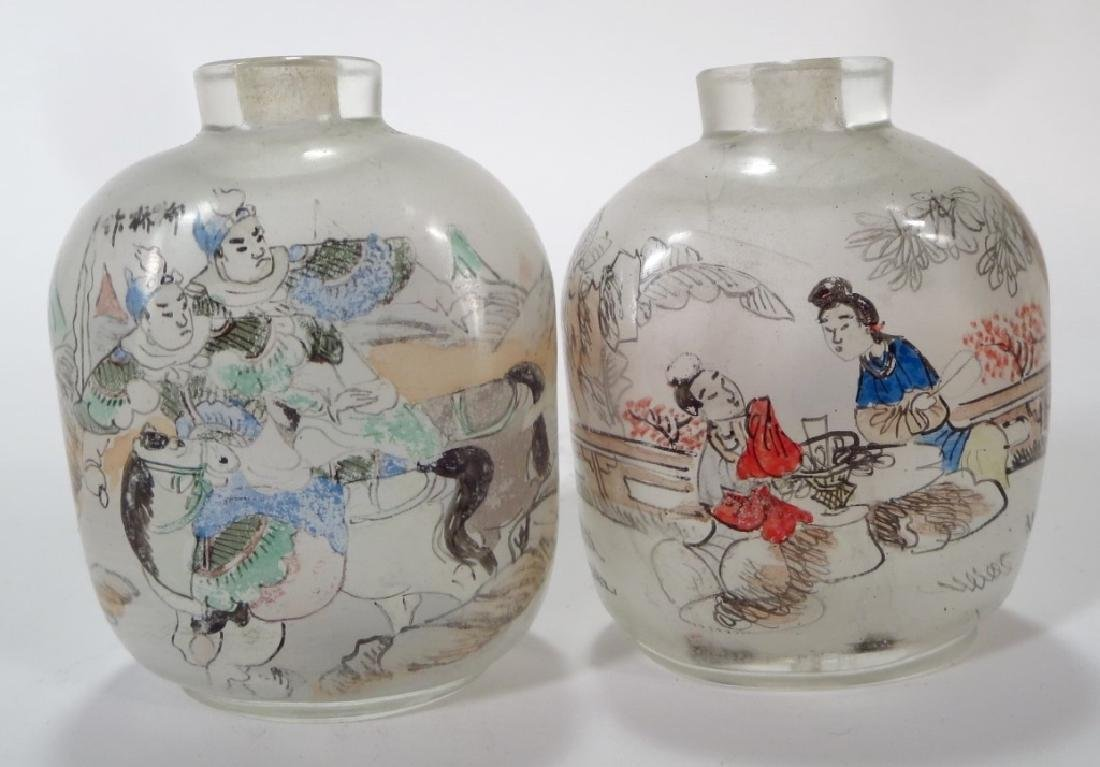 Two Chinese Snuffs, Reverse Painted Glass